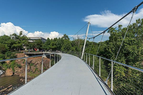The Liberty Bridge at Falls Park on a beautiful day in Greenville, South Carolina