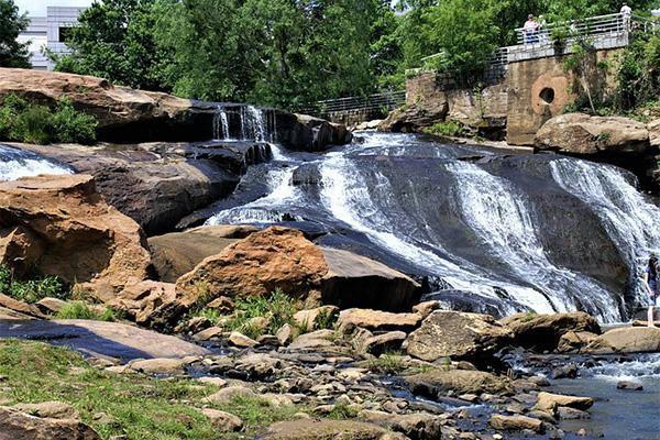 The waterfalls of Falls Park on the Reedy in Greenville, South Carolina