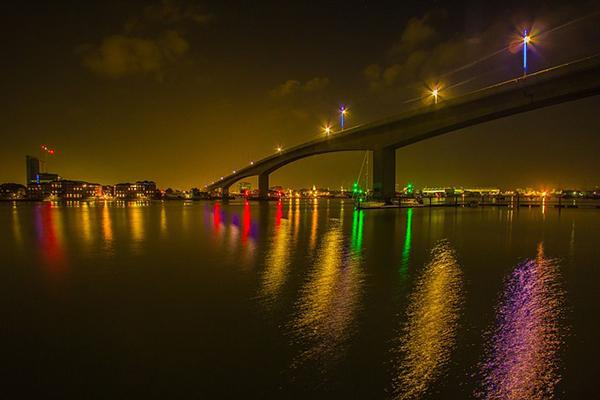 Neon Lights light up the night in Southampton, United Kingdom