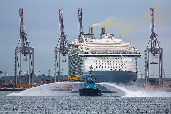 Harmony of the Seas (a large Royal Caribbean cruise ship) leaves the Port of Southampton