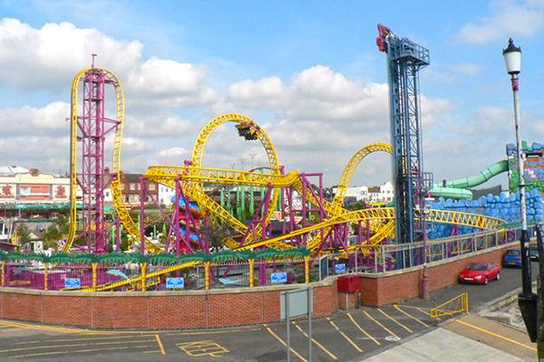 Colourful rides draw the eye at the Adventure Island Amusement Centre in Southend-on-Sea