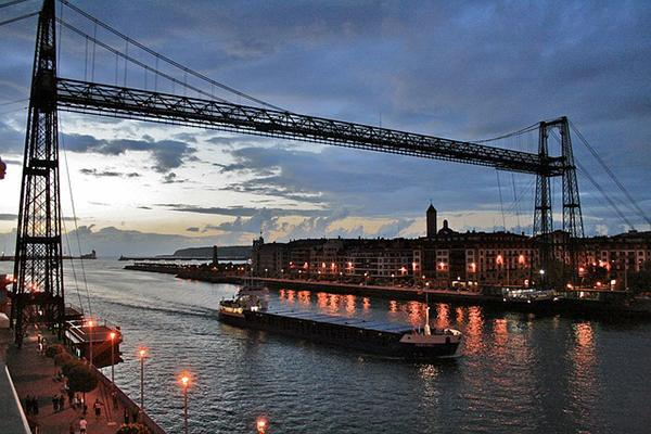 The Vizcaya Bridge looking majestic at dusk at the mouth of the Nervion River in Spain