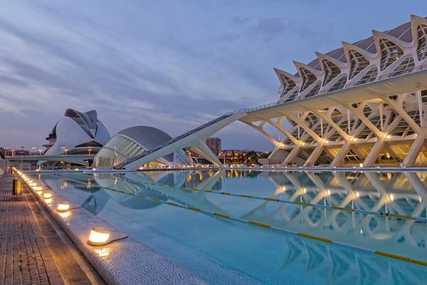 The City of Arts and Sciences at sunset in Valencia, Spain