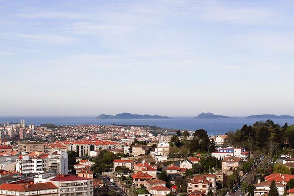 A view of the city stretching out over the coast from Vigo, Spain