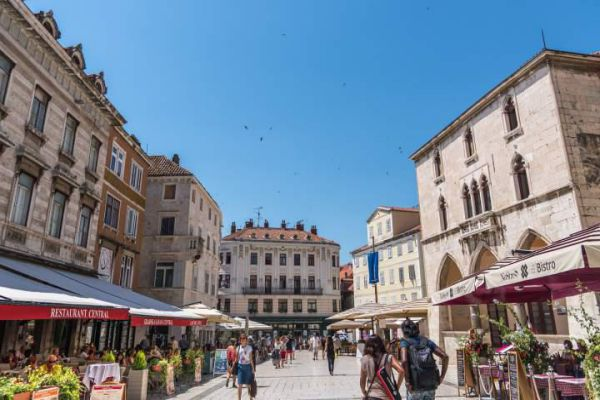 Split, a town on Croatia's Dalmatian Coast, is known for its beaches and the fortresslike complex at its center.