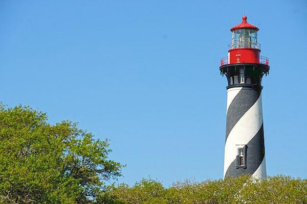 St Augustine Florida Lighthouse with a blue sky background