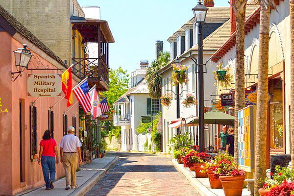 Cobblestone lane on Aviles Street in St Augustine, Florida
