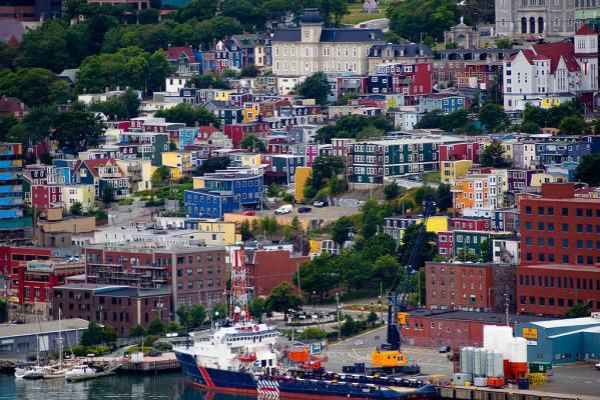 Colourful row houses in St John's.