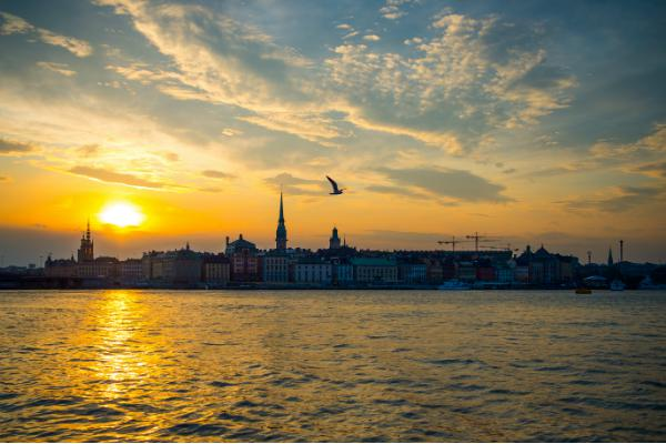 Sun sets over beautiful Stockholm