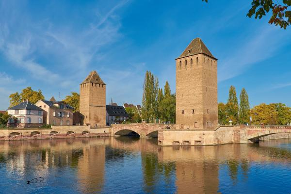 The historic battlements of the Henry Tower protect the city of Strasbourg, France