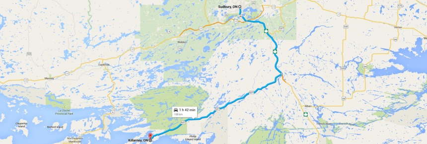 Sudbury to Killerney Map