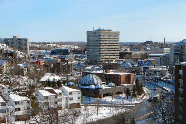 Downtown Sudbury in winter.