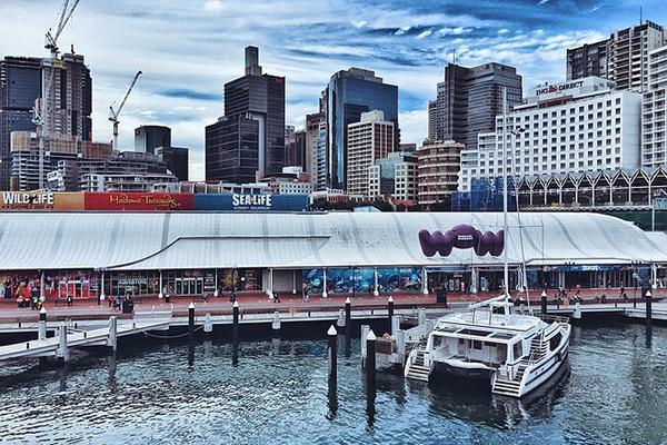 The entrance to the Sea Life Aquarium amongst the city skyline of Sydney, Australia