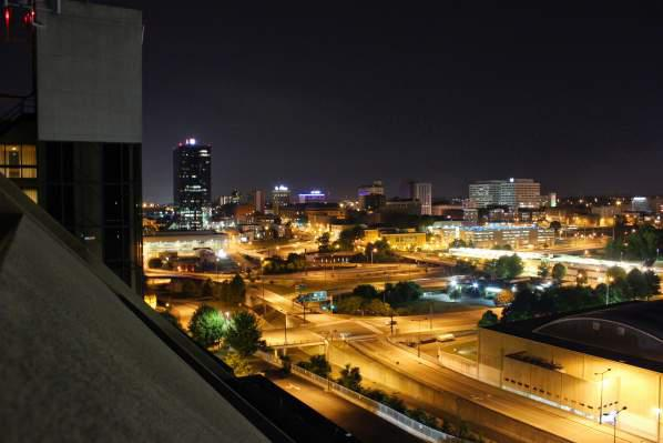 City Lights after sunset in Knoxville.