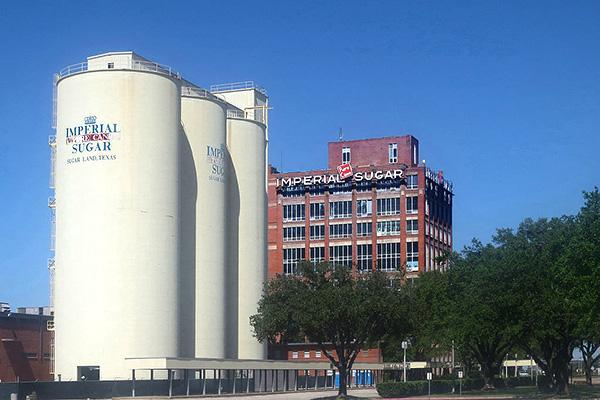 The Imperial Sugar Land Refinery on a beautiful day in Sugar Land, Texas