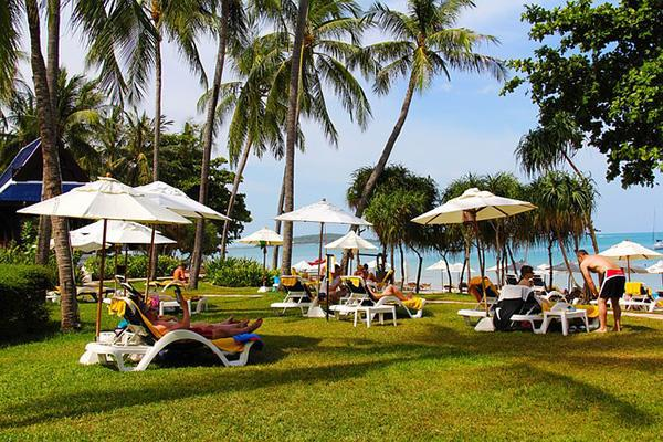 Vacationers lounge around under palm trees on the grass next to the sea in Koh Samui, Thailand