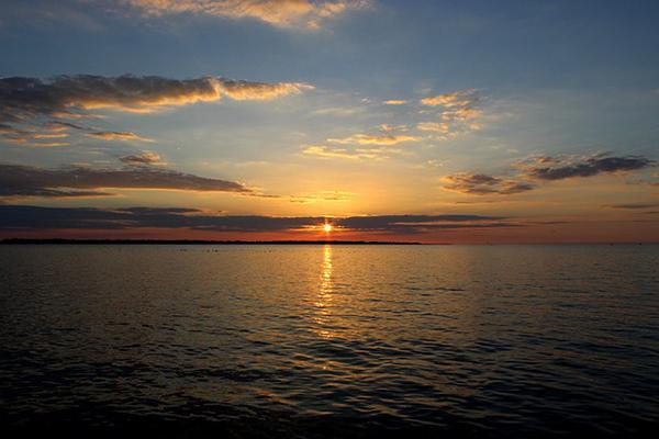 Sunset on Lake Erie, one of the five Great Lakes