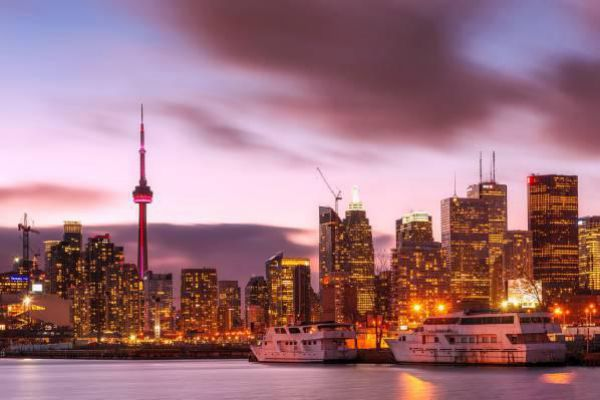 The growing skyline of Toronto during sunset.
