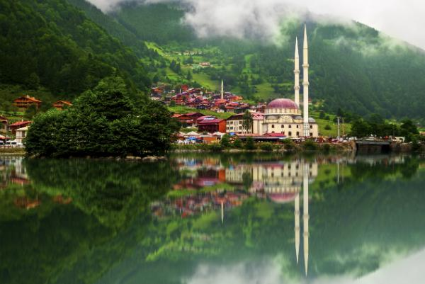 Trabzon's buildings are reflected in the water