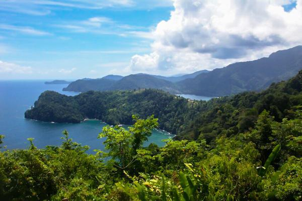 View of the lush Maracas Bay on the island of Trinidad in Trinidad and Tobago
