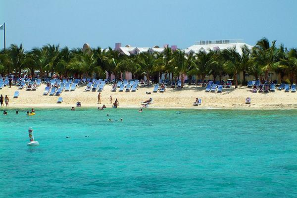 Holidaymakers living it up on the palm-covered beach and teal waters of Turks and Caicos