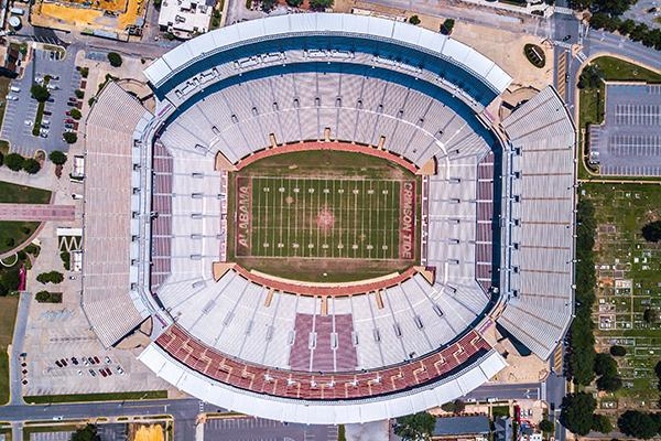 Aerial view of the Bryant-Denny Stadium in Tuscaloosa, Alabama
