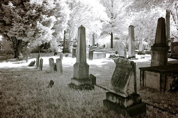 The old Greenwood Cemetery looking eerie in Tuscaloosa, Alabama