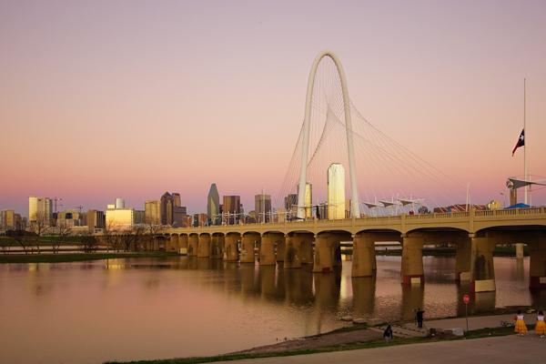 The modern Margaret Hunt Hill Bridge spans the Trinity River in Dallas, Texas
