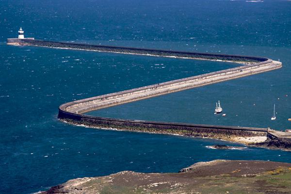 The Holyhead Breakwater provides shelter for the harbour in Holyhead, United Kingdom