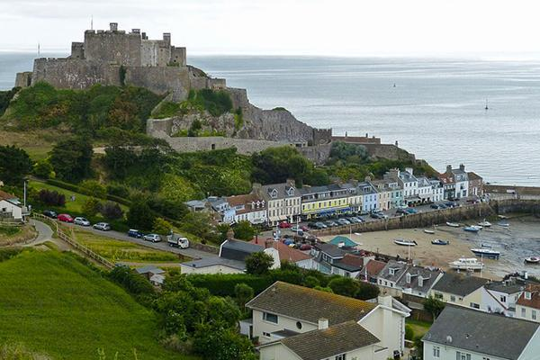 The fishing village of Gorey, in Jersey, Channel Islands