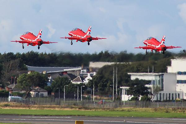 The Red Arrows at Prestwick Airport having participated in the Scottish International Airshow