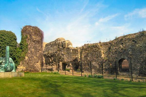 The historic Abbey Ruins bask in the sunshine in Reading, United Kingdom