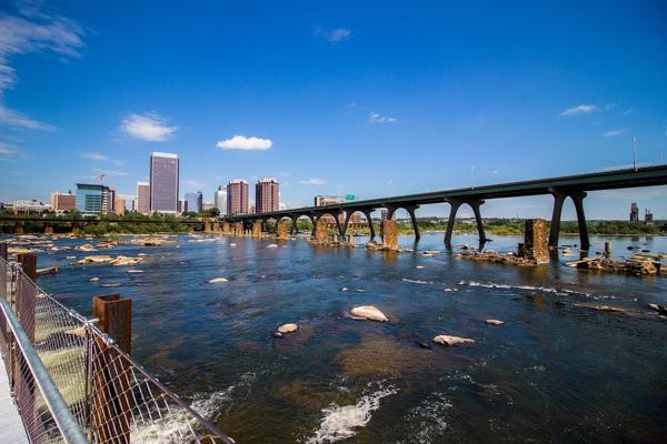 Downtown Richmond, Virginia sits across from the flowing James River
