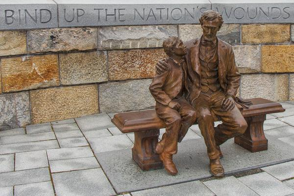 The powerful words of Abraham Lincoln immortalised in stone at Tredegar Iron Works in Richmond, Virginia