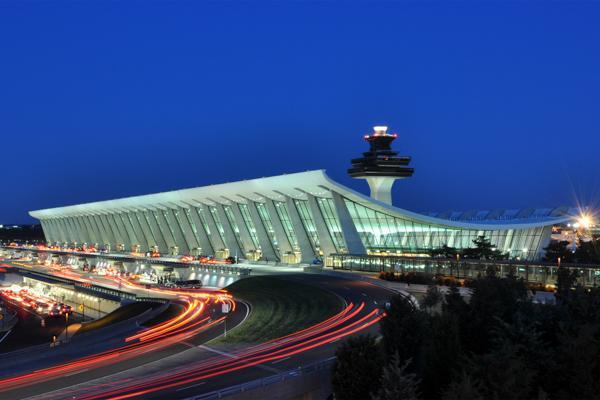 Traffic flows into Washington Dulles International Airport near Vienna, Virginia