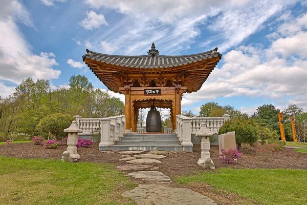 The Korean Bell Garden is the main feature of the Meadowlark Botanical Gardens in Vienna, Virginia