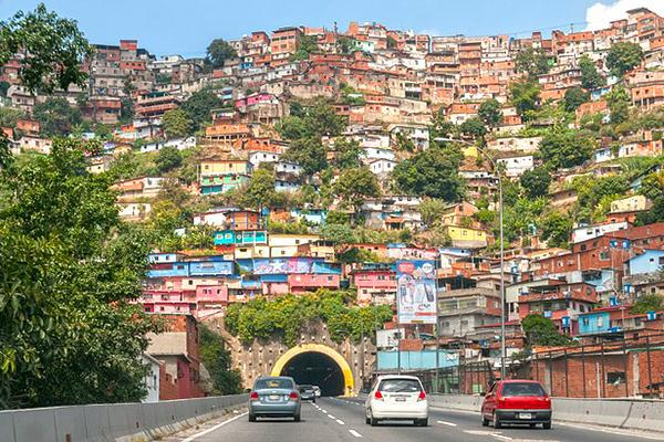 A crowded and colourful hillside barrio (neighbourhood) in Caracas, Venezuela