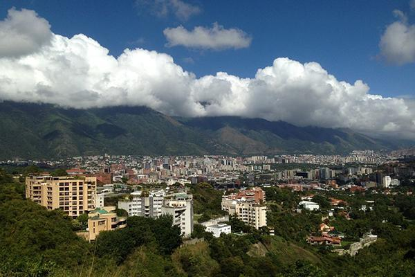 Skyline view of green and mountainous Caracas, Venezuela