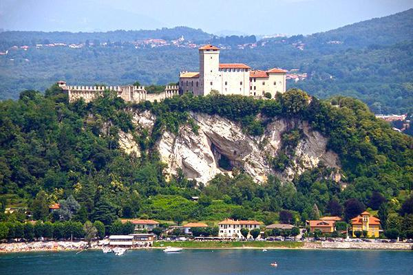 View of Borromeo Castle from Lake Maggiore in Varese, Italy