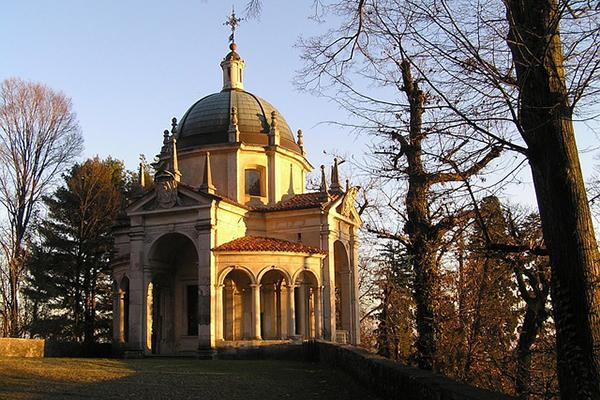 A beautiful church at dusk on a crisp autumn day in Varese, Italy