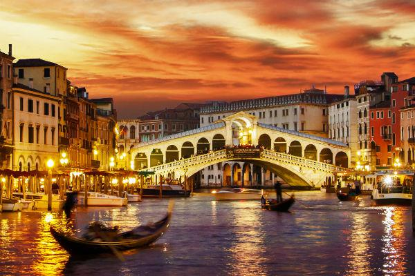 Venice at sunset is a truly magnificent sight.
