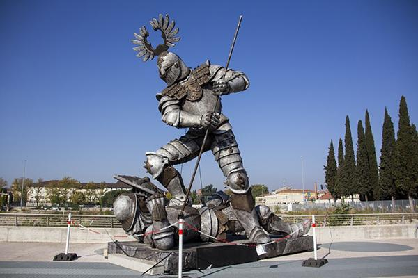 Knight in armour statue outside Arena di Verona in Verona, Italy
