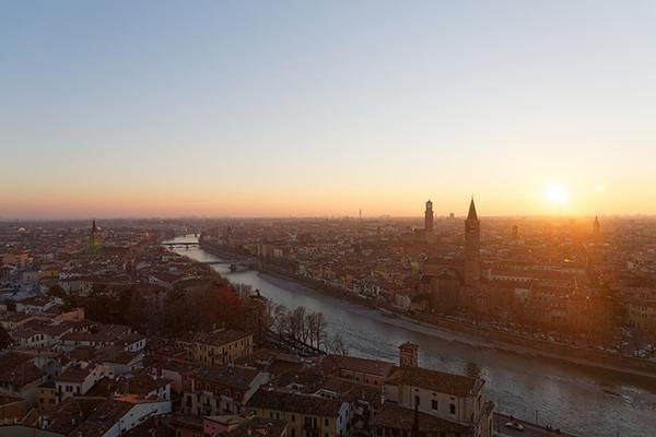 A bird's eye view of Verona, Italy at sunset