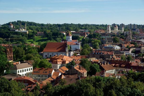 Lithuania's capital, Vilnius, near the Belarus border, is known for its medieval Old Town.