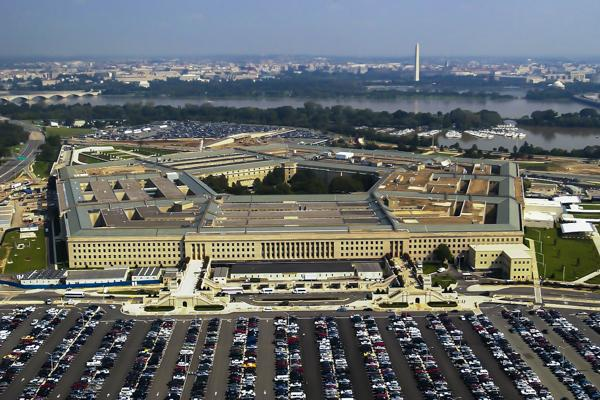 The Pentagon building in Arlington, Virginia looks out over downtown Washington D.C.