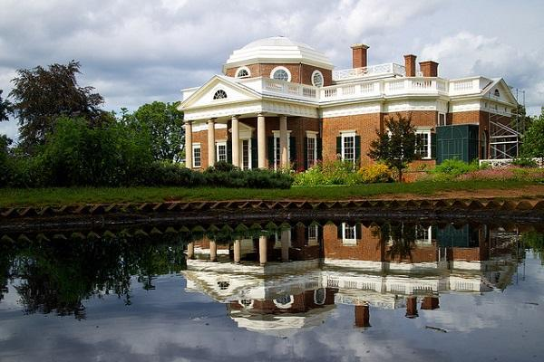 Jefferson's Monticello stands high on a hill above Charlottesville