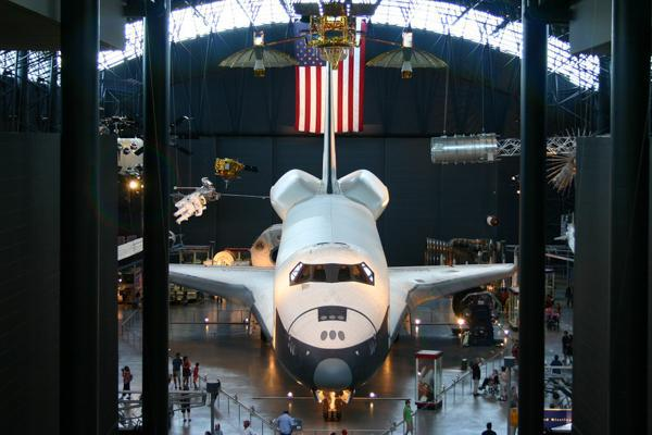 The historic space shuttle rests in James S. McDonnell Space Hangar in Dulles, Virginia