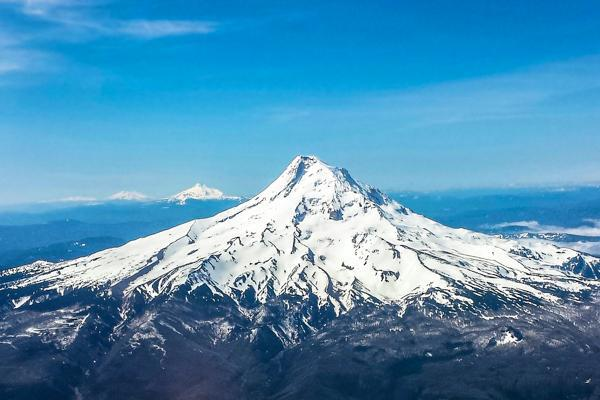 Mt. Hood looms above the Portland wilderness just outside Vancouver, Washington