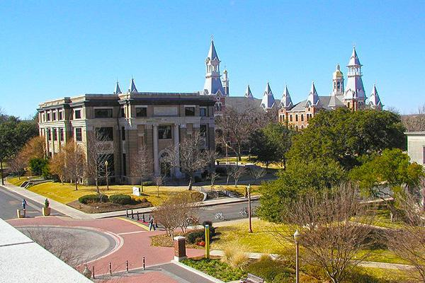 View of the Baylor University campus in Waco, Texas