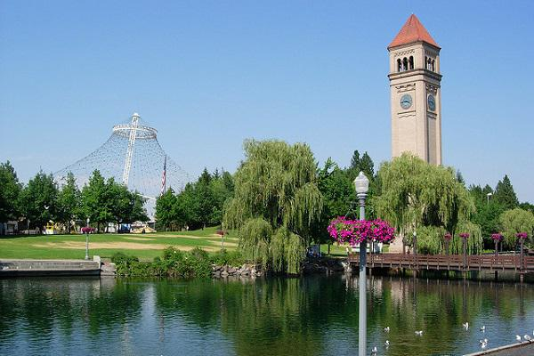 Flowers and Clock Tower of Spokane
